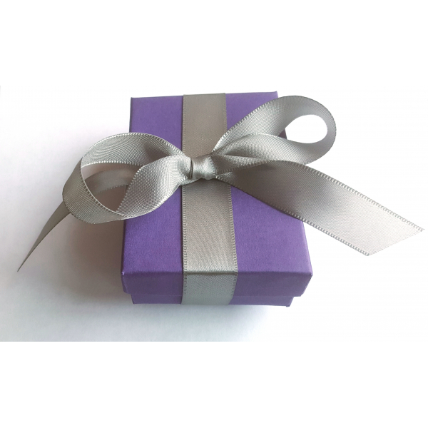 Here is the beautiful packaging for your bracelet, purple box and gray ribbon