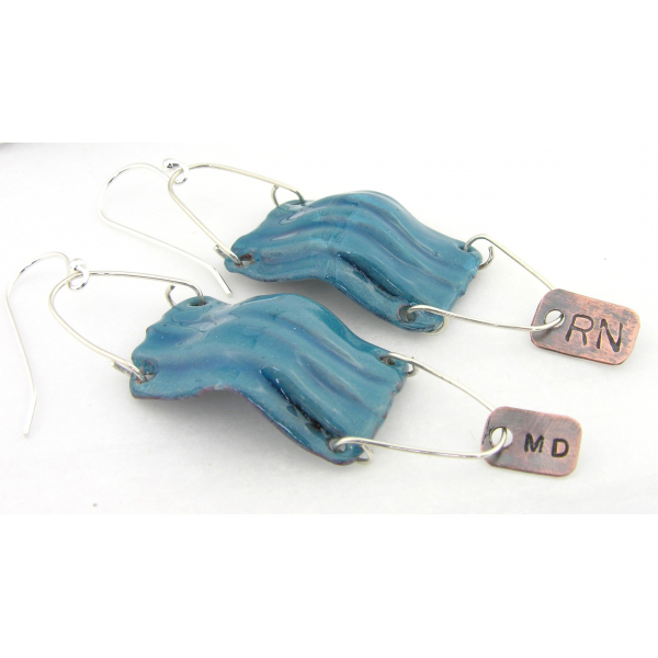 Aqua blue enamel surgical mask covid19 coronavirus RN MD PA copper