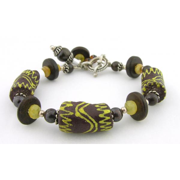 Handmade bracelet brown yellow opal gemstones Ghana glass sterling silver