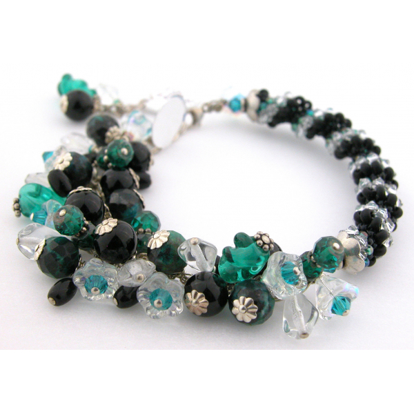Handmade woven bracelet in black clear teal sterling silver twist crystal onyx