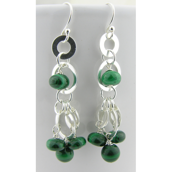 Handmade Circles and Green Earrings malachite and sterling silver