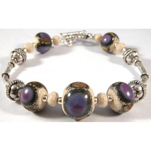Handmade bracelet purple ivory brown gemstone artisan lampwork sterling silver