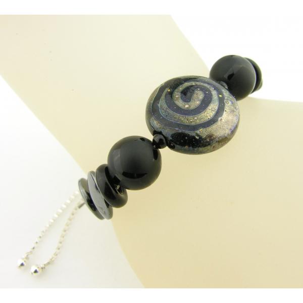 Handmade bracelet black metallic lampwork onyx hematite gemstone sterling