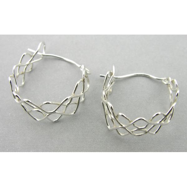 Artisan made argentium sterling mesh hoop earrings, another pair