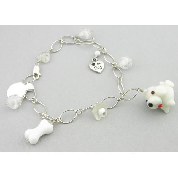 Handmade dog charm bracelet white sterling silver vintage crystal flower heart