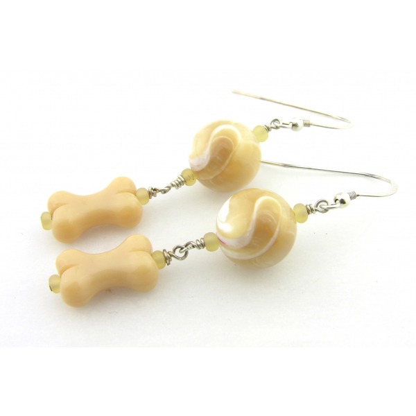 Handmade beige and white earrings with mother of pearl, glass bone, sterling
