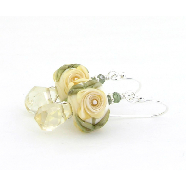 Hand made yellow green earrings flower lampwork glass sapphire citrine, sterling