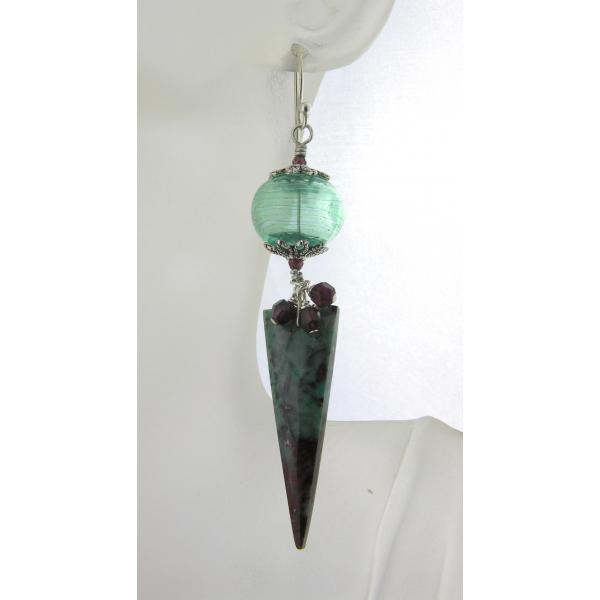 Handmade red, teal, black earrings with sonoran jasper spikes, garnet, lampwork