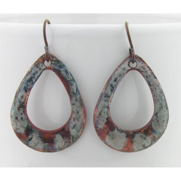Artisan made organic raku enamel on copper earrings with niobium ear wires
