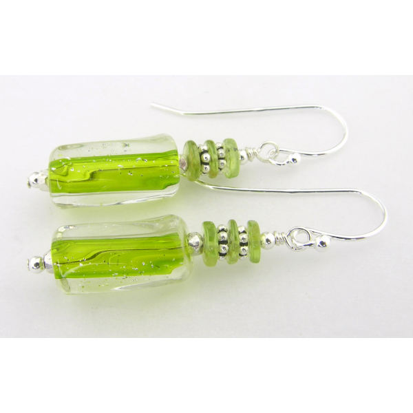 Artisan lime green short earrings with artisan furnace glass, peridot, sterling