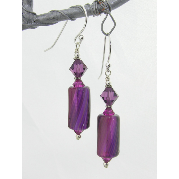 Handmade fuchsia purple grape earrings with artisan furnace glass, sterling