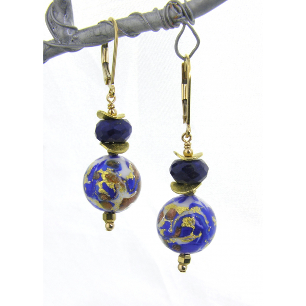 Handmade earrings with lapis blue white gold venetian beads gold fill ear wires