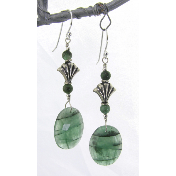 handmade artisan green earrings with emeralds and sterling silver