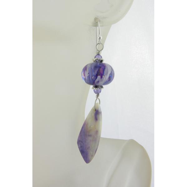 Handmade white lavendar earrings with mexican purple opal cubic zirconi lampwork