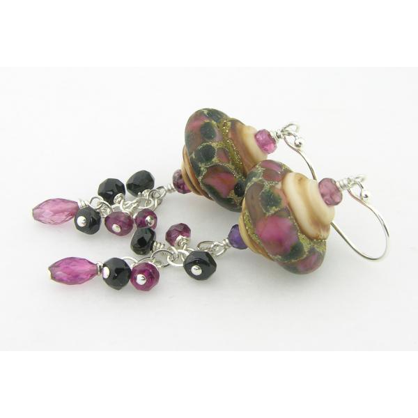 Handmade beige black maroon wine red lampwork earrings pink tourmaline sterling