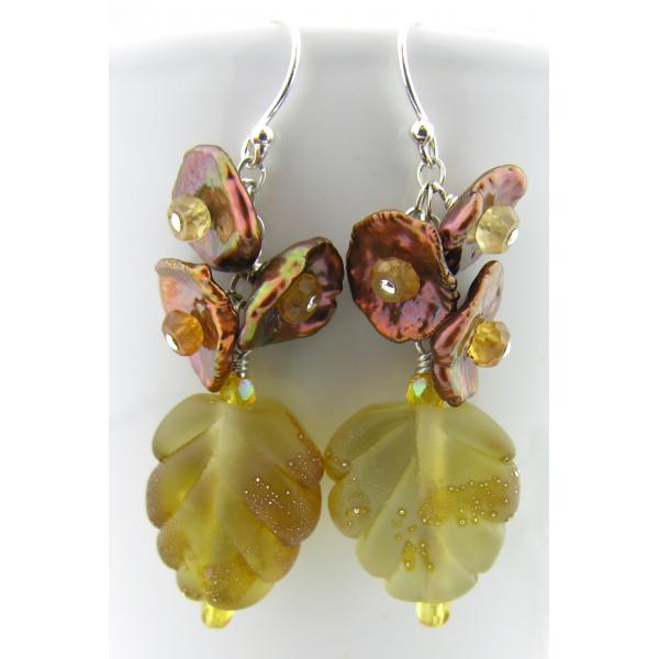 Artisan made topaz lampwork leaf earrings keishi pearl hessonite garnet sterling