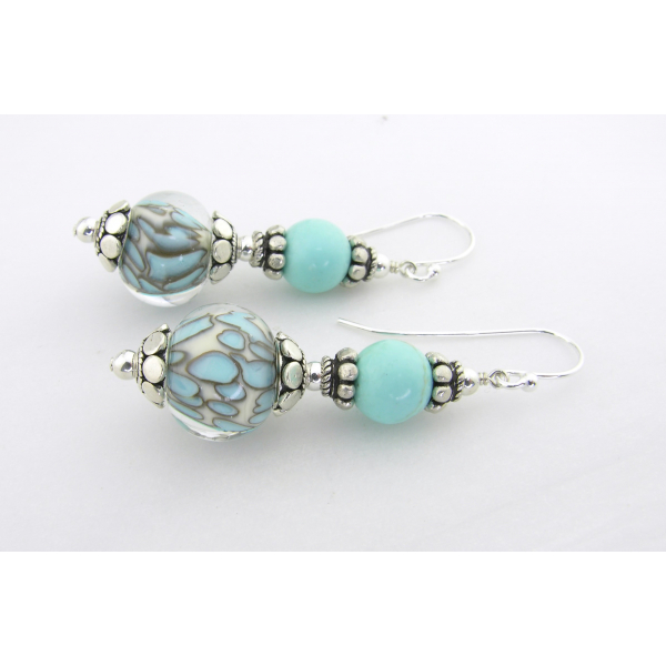 Handmade turquoise and white dot lampwork, turquoise gemstones, sterling
