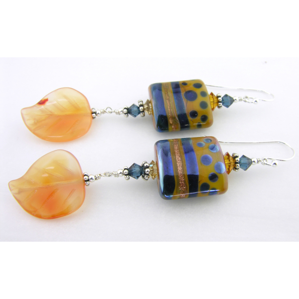 Handmade blue orange lampwork earrings carnelian leaf sterling