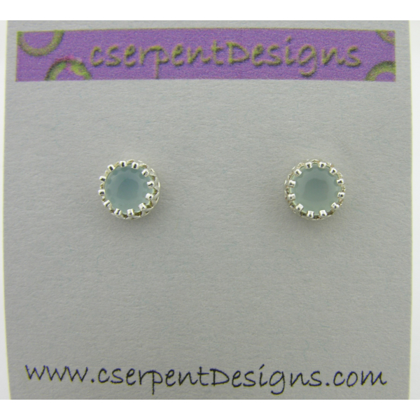 Handmade aqua AAA grade chalcedony cab sterling silver post earrings