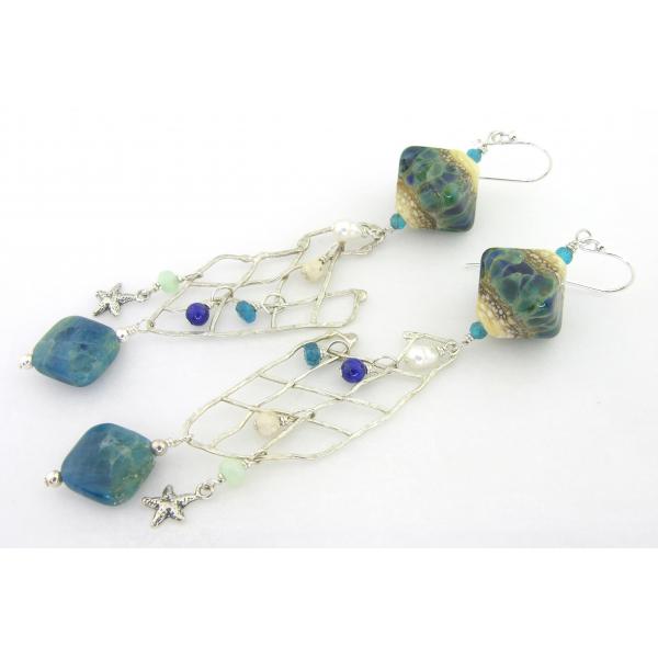 Handmade ocean fishnet sterling silver earrings lapis apatite lampwork pearls