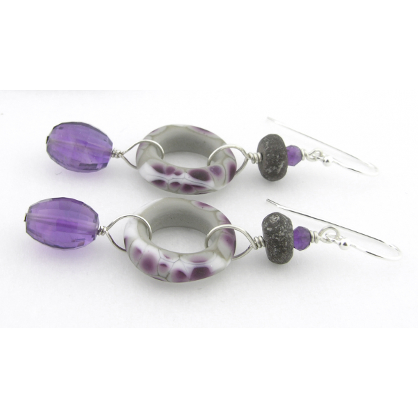 Handmade earrings purple white grey lampwork amethyst dinosaur bone sterling