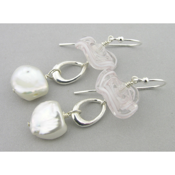 Artisan made white sterling earrings with baroque pearls lampwork
