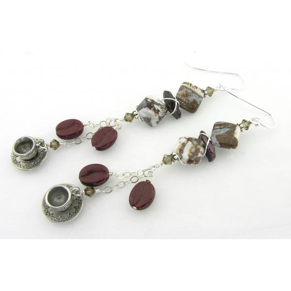 Artisan made brown white agate coffee earrings pearls bean cup crystal sterling