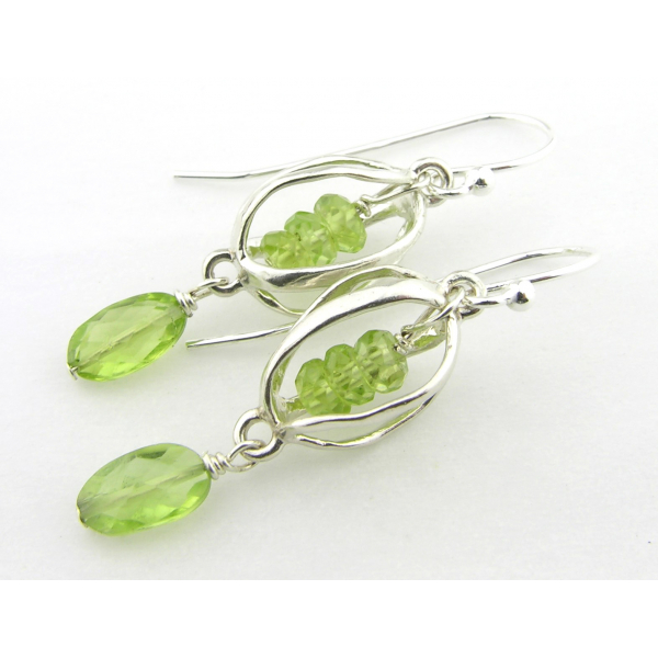 Artisan lime green earrings with caged peridot and sterling silver