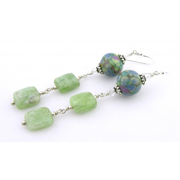 Handmade light green blue purple earrings with green kyanite, lampwork, sterling