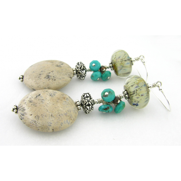 Hand made ivory white turquoise fossil coral lampwork glass turquoise sterling