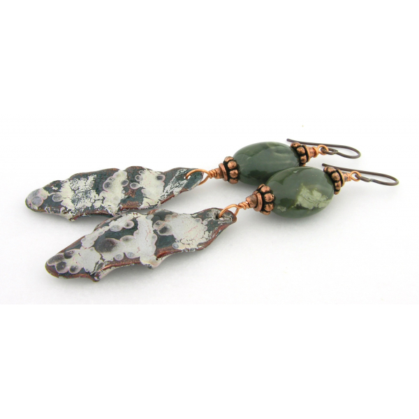 Artisan made green fold formed enamel on copper earrings jasper