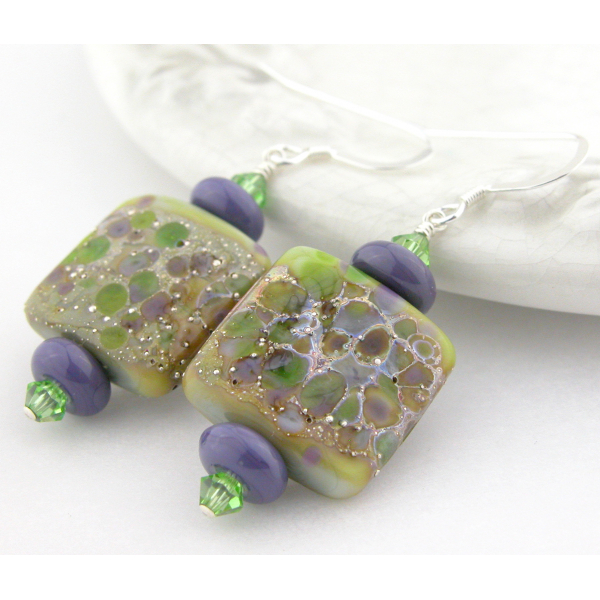 Artisan green purple earrings with square lampwork glass, Swarovski, sterling