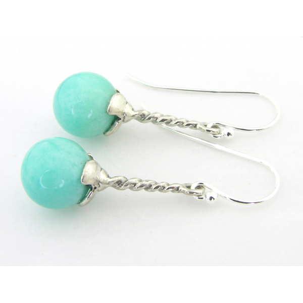 Handmade aqua earrings with amazonite gemstone sterling silver