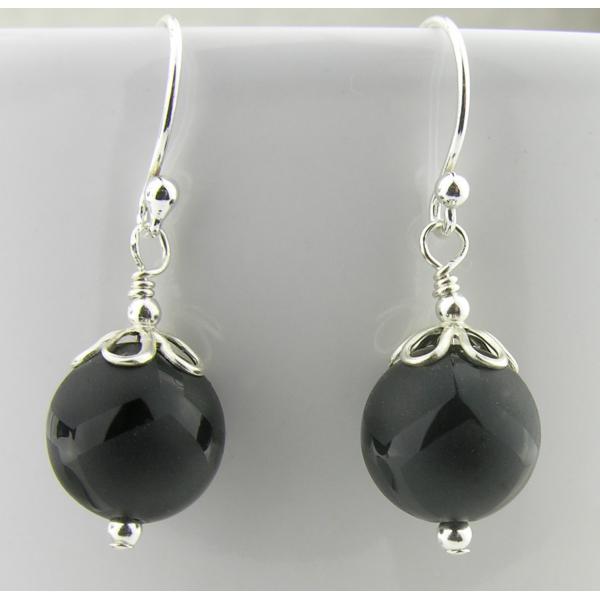 Artisan etched black onyx earrings sterling silver random lines petals