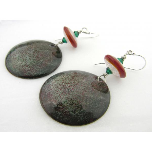 Artisan made red green white enamel on copper lampwork earrings in sterling