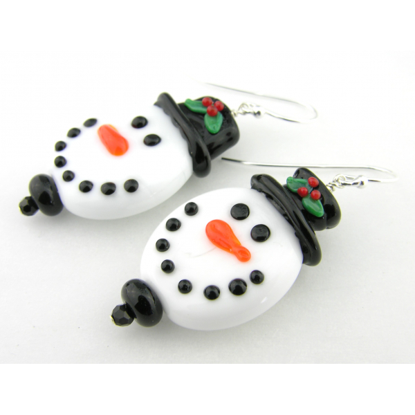 Artisan made white glass snowman face earrings in sterling Christmas winter hat