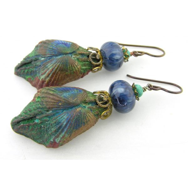 Artisan green blue gold earrings with artisan polymer, glass, turquoise, brass