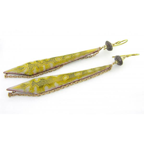 Handmade yellow gray earrings enamel brass citrine dinosaur bone niobium