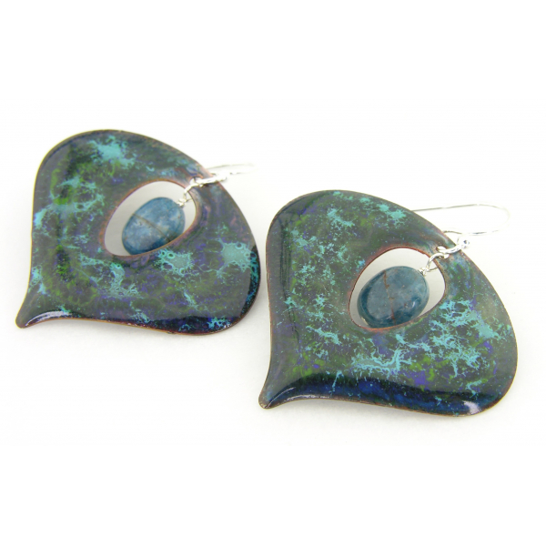 Artisan made blue, green, aqua enamel on copper earrings apatite sterling