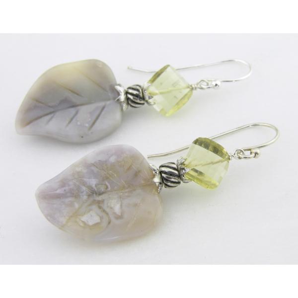 Handmade earrings yellow gray lemon quartz agate leaves sterling
