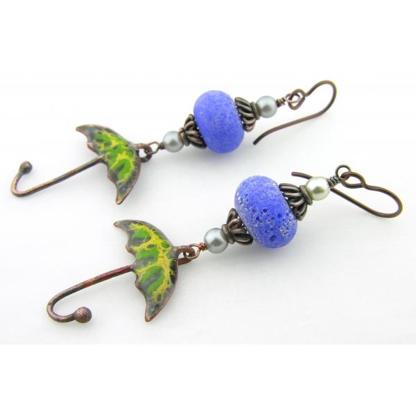 Handmade yellow, green enamel umbrella earrings with blue lampwork glass, copper