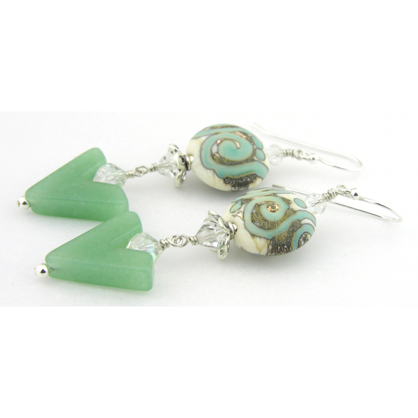 Handmade earrings light green white etched lampwork aventurine crystals sterling