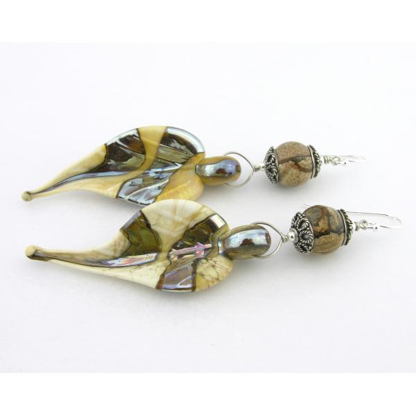 Artisan made cream lampwork leaf earrings crazy lace agate gemstone sterling