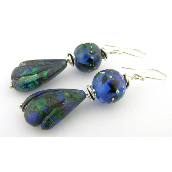 Handmade blue earrings with blue green lampwork glass, azurite wing, sterling