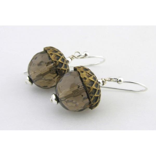 Handmade earrings with faceted smoky quartz acorn sterling silver fall autumn