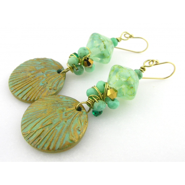 Handmade earrings aqua light green lampwork polymer chrysoprase gold filled