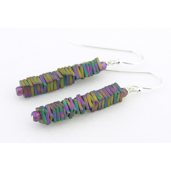 Handmade rainbow column earrings with titanium coated pyrite gemstones sterling