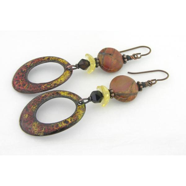 Artisan made red yellow black enamel on copper earrings onyx jasper niobium