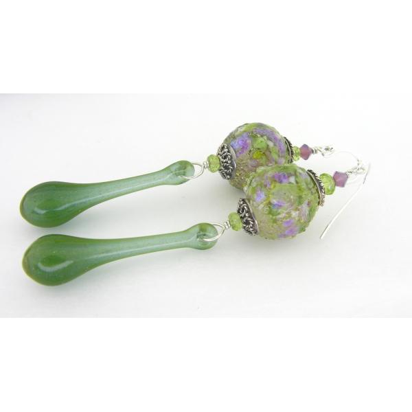 Handmade earrings green purple lampwork peridot gemstone sterling silver