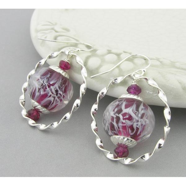 Handmade red, white, silver earrings, lampwork, garnet and sterling